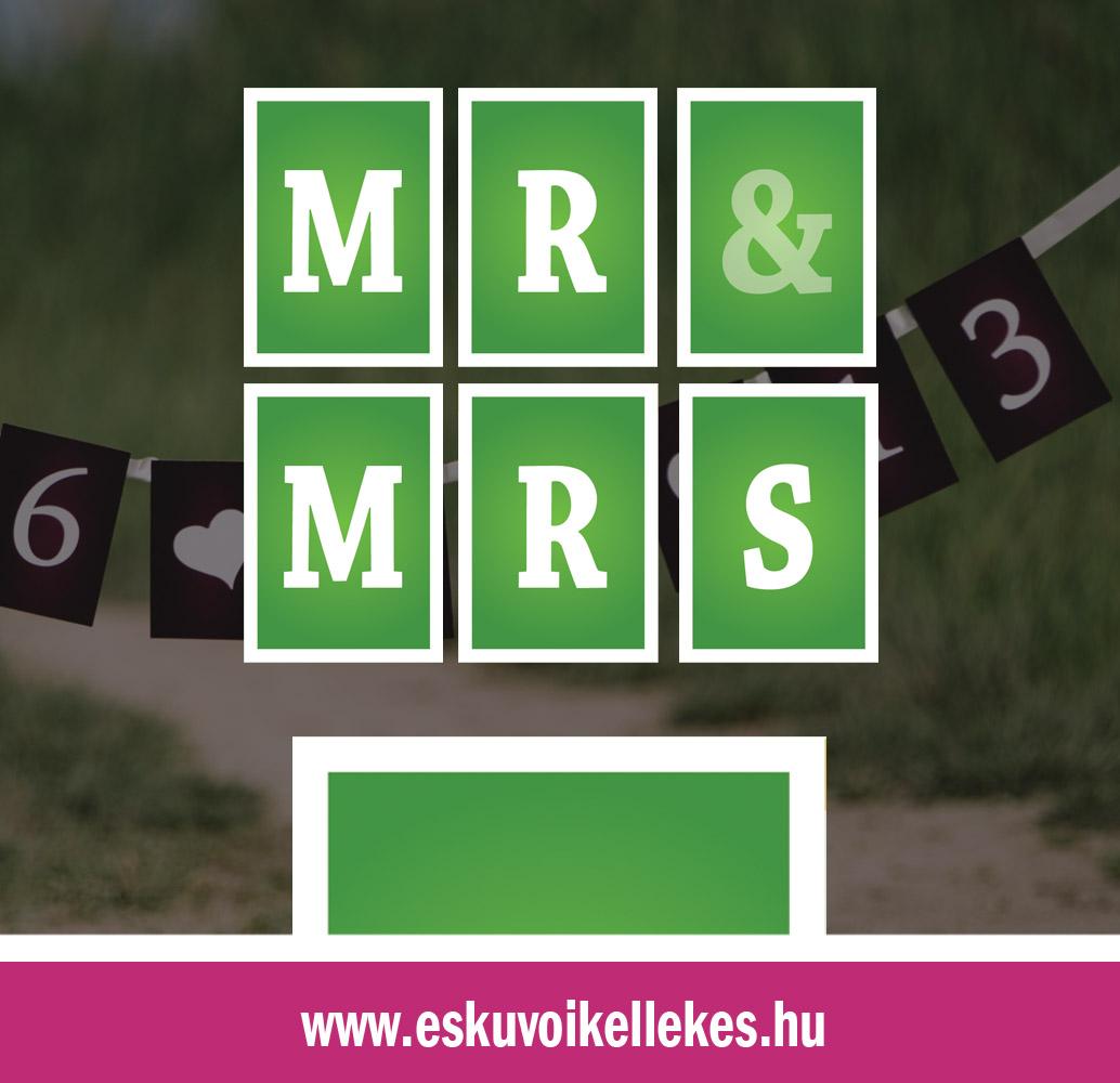Egyedi Mr&Mrs vagy dátumos szalag – egyenes szegély