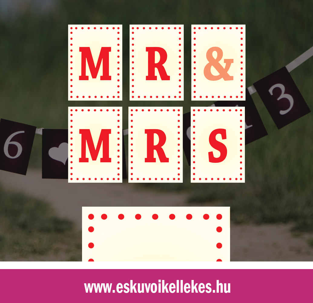 Egyedi Mr&Mrs vagy dátumos szalag – pöttyös szegély