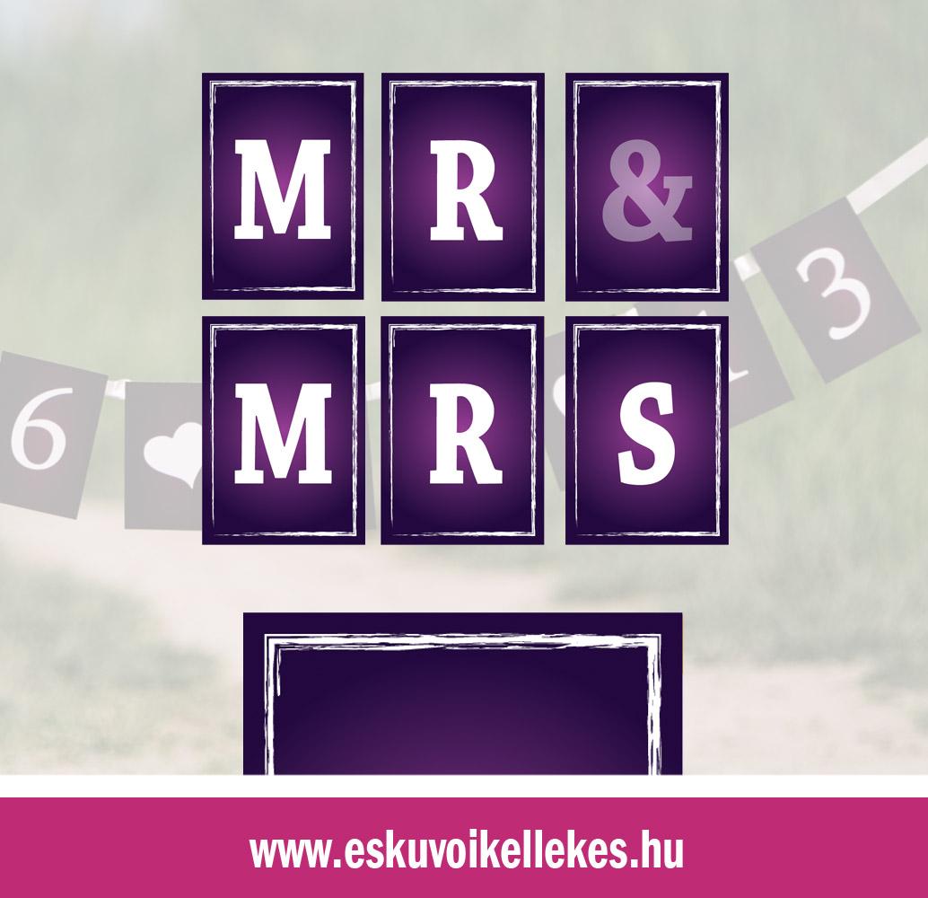 Egyedi Mr&Mrs vagy dátumos szalag – festett hatású szegély