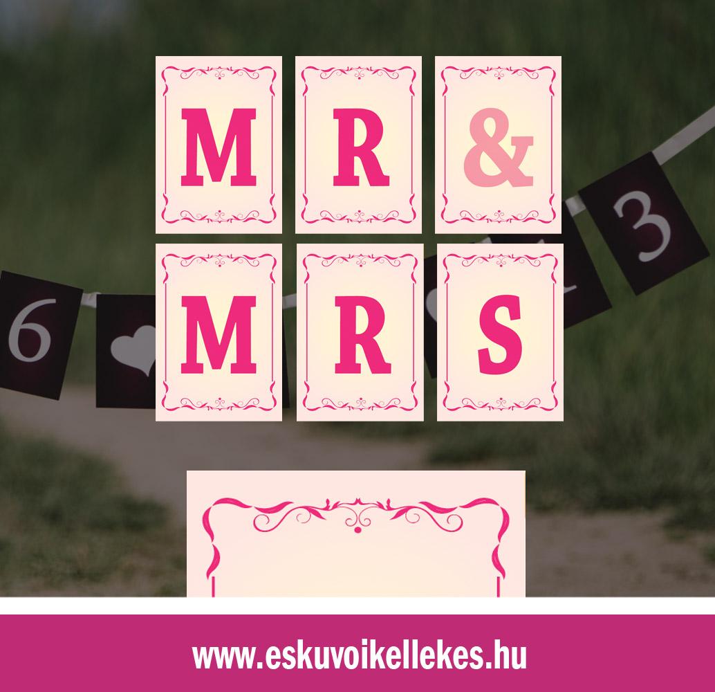 Egyedi Mr&Mrs vagy dátumos szalag – barokk1 szegély