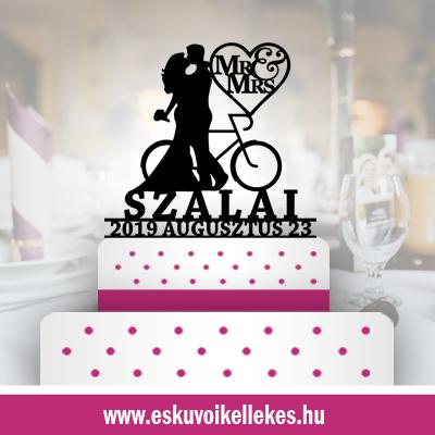 Biciklis esküvői tortadísz (11) + ajándék talapzat