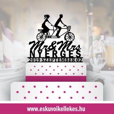 Biciklis esküvői tortadísz (12) + ajándék talapzat