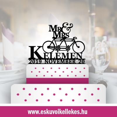 Biciklis esküvői tortadísz (13) + ajándék talapzat