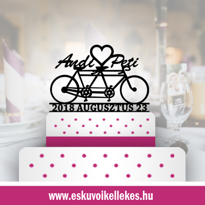 Biciklis esküvői tortadísz (14) + ajándék talapzat
