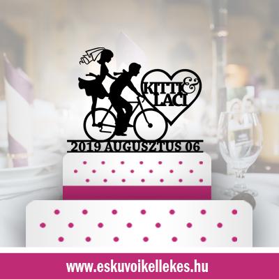 Biciklis esküvői tortadísz (15) + ajándék talapzat