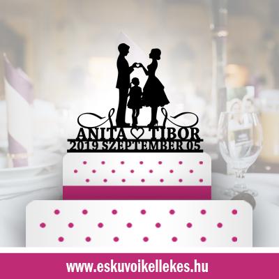 Családos esküvői tortadísz (42) + ajándék talapzat