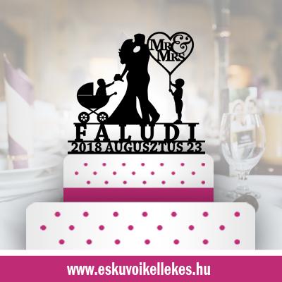 Családos esküvői tortadísz (43) + ajándék talapzat