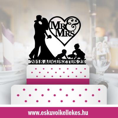 Családos esküvői tortadísz (44) + ajándék talapzat