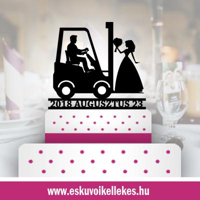 Targoncás esküvői tortadísz (37)+ ajándék talapzat