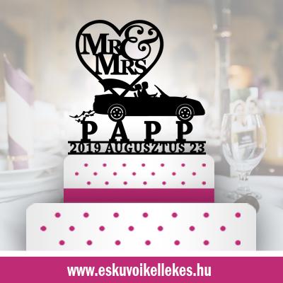 Autós esküvői tortadísz (91) + ajándék talapzat
